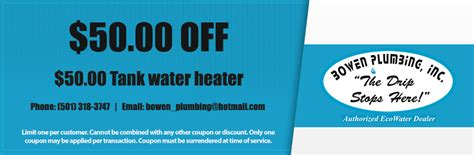 Bowen Plumbing by Bowen Plumbing Inc Coupons Specials Arkansas