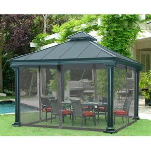 Home Depot Patio Gazebo Sunjoy Universal Broadway 12 Ft X 12 Ft Gazebo Mosquito Netting The Home Depot Canada