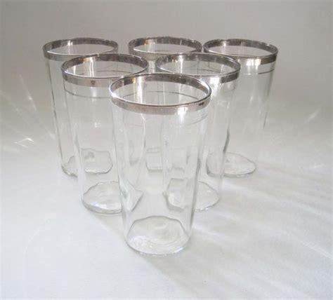 Silver Rimmed Bar Glasses Vintage Silver Rimmed Cocktail Glasses Set Of 6 Mid
