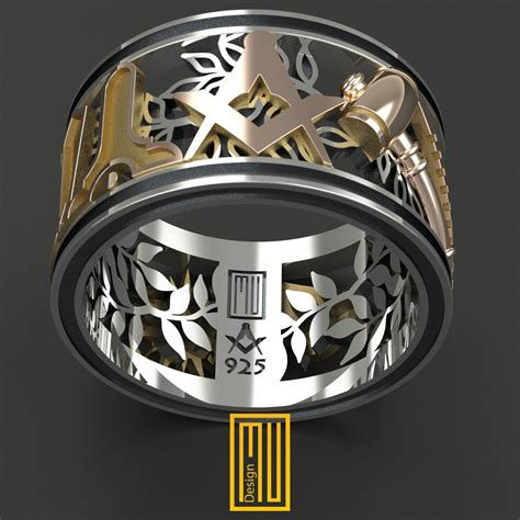 masonic ring unique design for 14k by mudesignjewelry