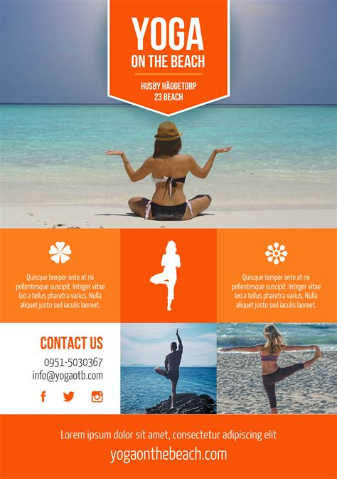 Beach Yoga A5 Promotional Flyer Http Premadevideos Com A5 Flyer Template Gallery A5 A5 Flyer Template