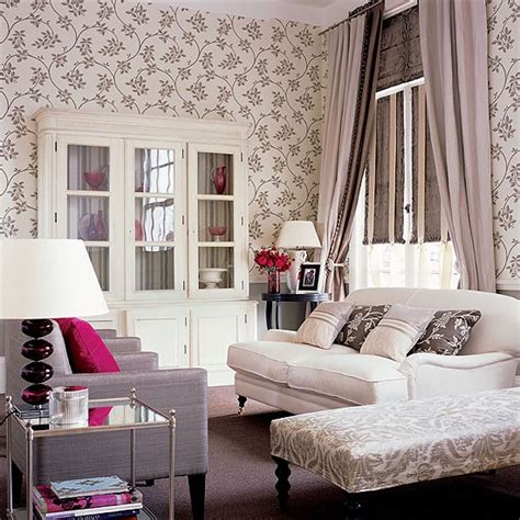 grey wallpaper living room uk grey and cream living room with floral wallpaper