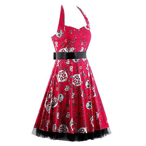 skull swing dress vintage sweetheart neckline halter backless skull print