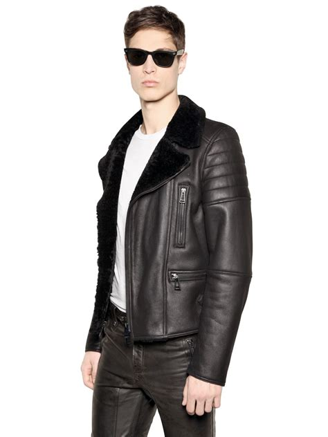 men s lyst belstaff quot fraser quot shearling leather biker jacket in