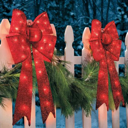 outdoor red battery lighted bows 30 quot lighted tinsel bow improvements catalog