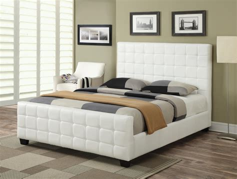 white leather king size bed coaster 300040ke white eastern king size leather bed