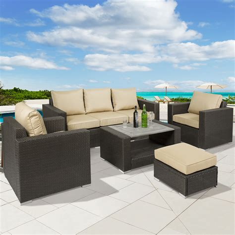 Best Outdoor Wicker Patio Furniture Best Choice Products 7pc Outdoor Patio Sectional Pe Wicker Furniture Sofa Set Ebay