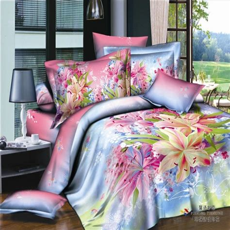 Bright Colored Bedding Sets Bright Color Watercolor Painting Floral Bedding Sets King Size 100 Cotton Fabric