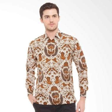 Kemeja Batik Kawung Grompol Printing Lengan Panjang jual batik agrapana print santosa lengan panjang kemeja batik pria coklat harga
