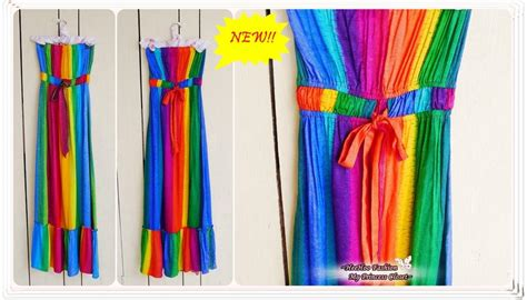 Pocket Maxi Rainbow Dress heehoofashion thai dye rainbow maxi dress johor