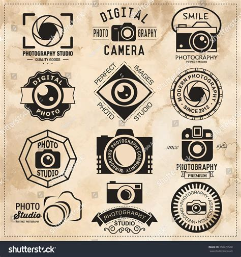 Photography Vintage Retro Badges Labels And Icons Set Vector Photography Logo Templates Studio Label Templates