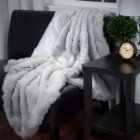 lavish home grey luxury haired faux fur throw 61 74 g