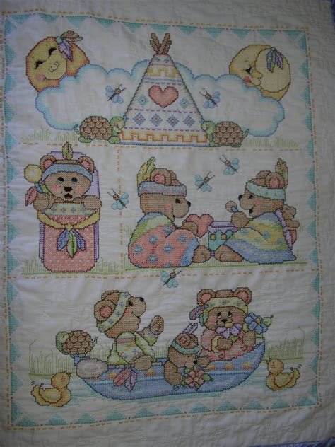 Cross Stitch Baby Quilt Patterns by Quilts Cross Stitch Baby Blanket