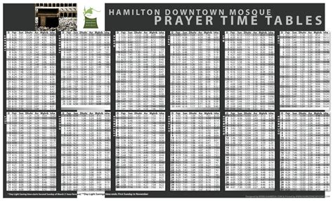 Prayer Times Hamilton Downtown Mosque Ontario Hamilton Muslim Prayer Time Table