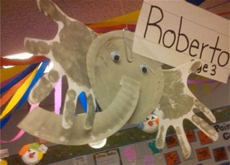 paper plate handprint elephant preschool items juxtapost