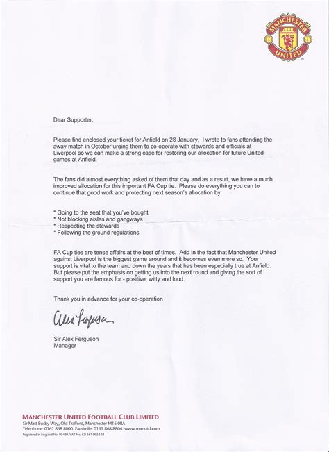 picture ferguson s letter to fans ahead of anfield