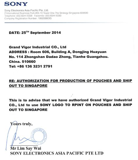 Authorization Letter By Company Sony Production Authorization Letter Grand Vigor Industrial Co Ltd