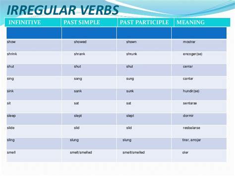 sink irregular verb irregular verbs 1