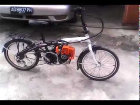 Sepeda Dengan Mesin Potong Rumput sepeda modif mesin