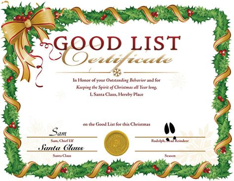 santa certificate template 7 best images of blank list certificate printable
