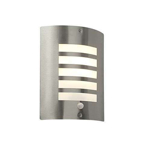 Outdoor Lighting With Sensors Saxby St031fpir Bianco Stainless Steel Modern Outdoor Pir Wall Light