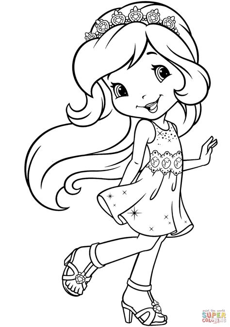 princess strawberry shortcake coloring page free