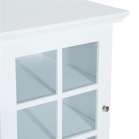 Homcom Wooden Accent End Table W Glass Door Storage End Table With Glass Door