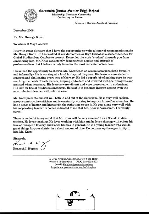 Letter Of Recommendation By Principal Of College Recommendations