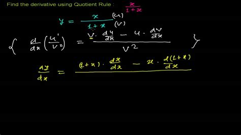 Dadu Maxy how to find derivative using quotient rule 1