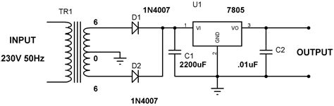capacitor used with 7805 5v power supply using 7805 voltage regulator with design