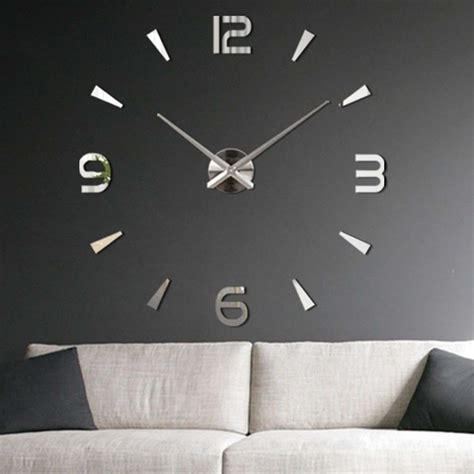 home decor for sale luxury large wall clock 3d sticker big modern diy 3d large wall clock mirror surface sticker home