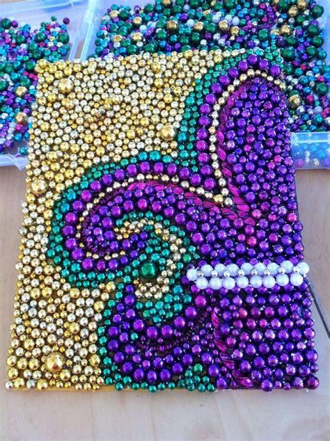 bead craft projects mardi gras bead fleur de lis glued on canvas board arts