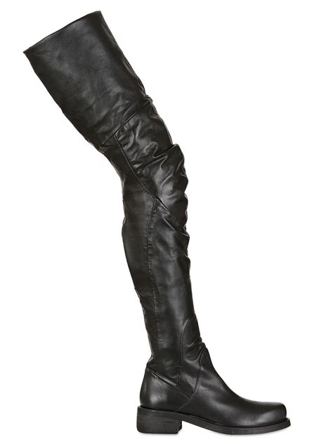 strategia 40mm stretch faux leather boots in black lyst