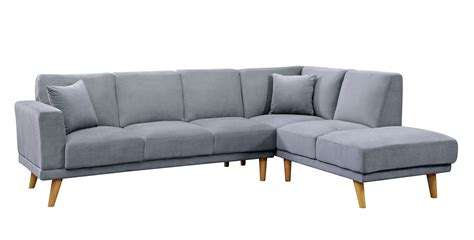 Mid Century Modern Sectional Sofa Hagen Gray Flannelette Mid Century Modern Sectional Sofa