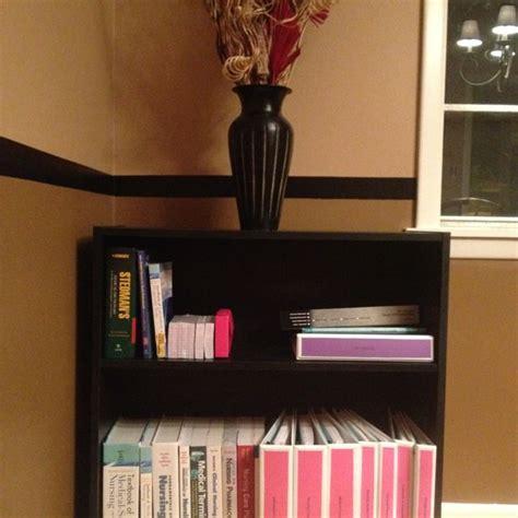 nursing school organization my bookshelf with my books and binders for nursing school