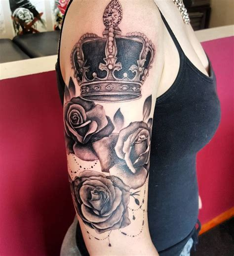 crown with roses tattoo quot in progress realism realismtattoo blackandgrey