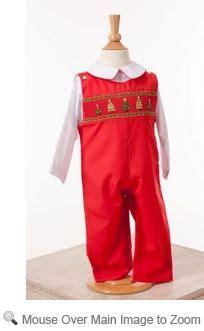 Lezame baby toddler boys smocked christmas trees on red longall