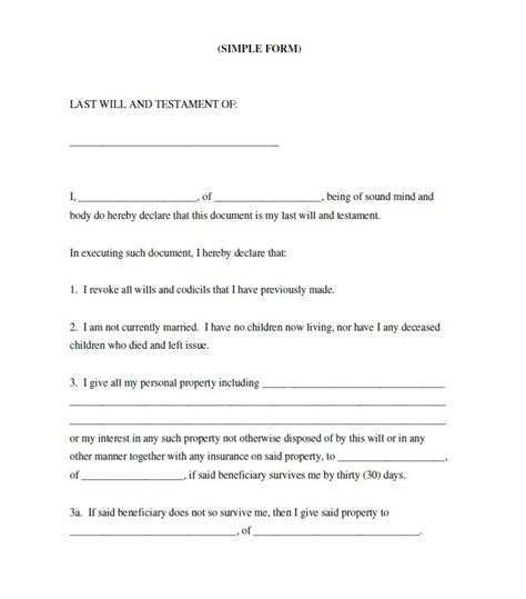 standard will template 39 last will and testament forms templates template lab