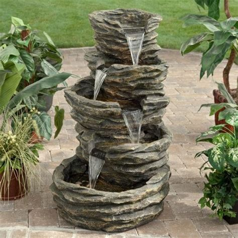 Rock Fountains For Garden Alpine Five Level Rock Pond Waterfall Modern Outdoor Fountains And Ponds By Hayneedle