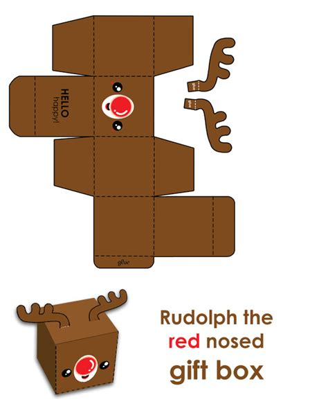 printable reindeer gift box rudy the free red nosed gift box hellohappycrafts