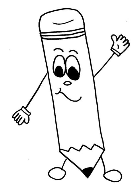 free pencil cartoon coloring pages