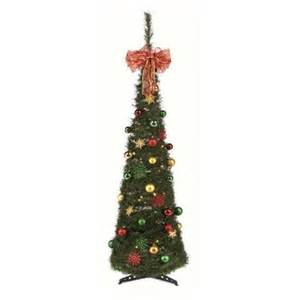 green pop up decorated lit slim christmas tree 1 8 metre