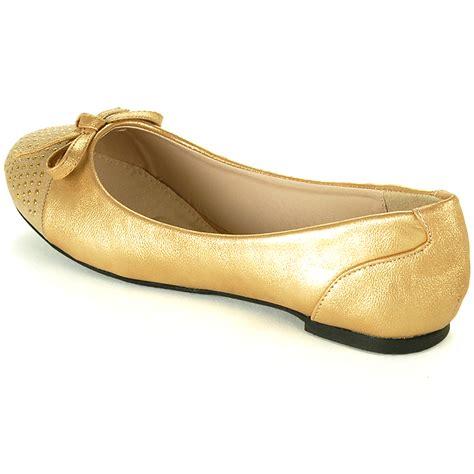 Flatshoes Gold womens ballet flats slip on gold studded toe loafers slide on bow detail shoes ebay