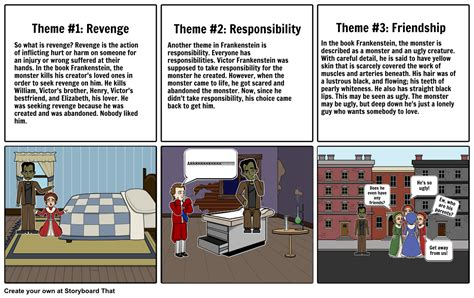 themes in frankenstein pdf frankenstein themes storyboard by kaylapham