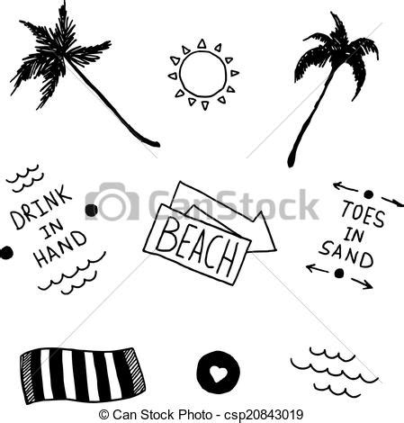 vector clip art of summer beach set in old tattoo