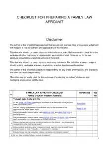 Witness Statement Template Family Court by Checklist For Preparing A Family Court Affidavit
