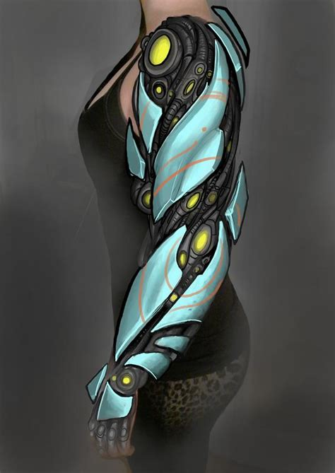digital biomech tattoo fullsleeve concept by matt driscoll