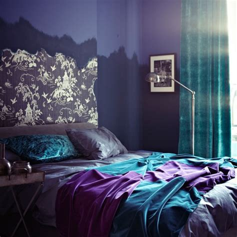 lavender and turquoise bedroom purple bedroom with turquoise and wallpapered headboard