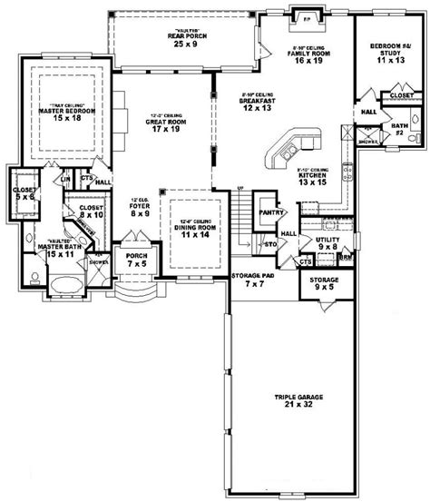 one and a half story house floor plans 654023 one and a half story 3 bedroom 4 bath french style house plan house plans