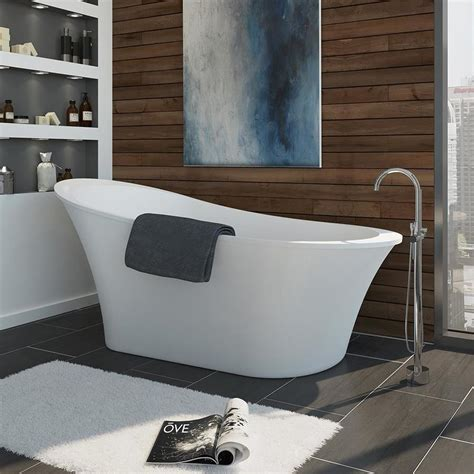 bathtub lowes shop ove decors rachel 70 in gloss white acrylic